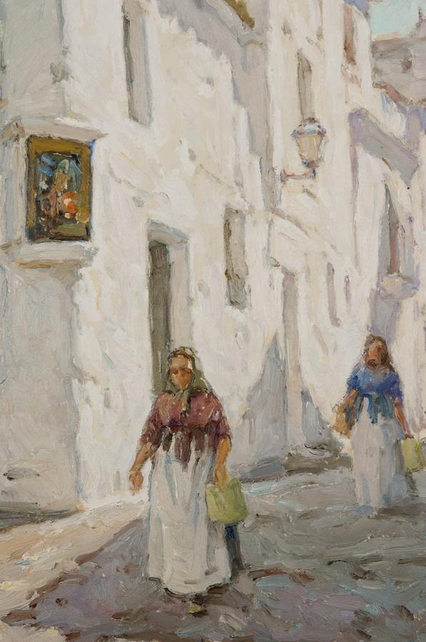 JOSÉ MANUEL CHICO PRATS Óleo sobre lienzo Casa de Ibiza y mujer