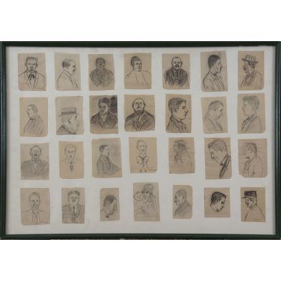 """""""28 retratos"""", Ricardo Opisso Sala.  28 dibujos realizados a lápiz, que aparecen firmados algunos de ellos, en el ángulo inferior derecho. Medidas con marco: 51 x 71 cm. Medidas sin marco: 10 x 7 cm (cada retrato)."""