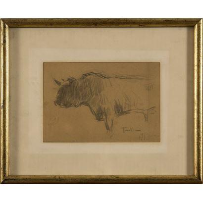 Dibujo; Joaquim Terruella MatillaSe trata de un dibujo a lápiz, que aparece fechado y firmado por el propio autor en el ángulo inferior derecho. Está enmarcado. 10 x 15 cm (1913).