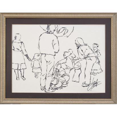 TOLEDO, Cristobal (Castro del Río (Córdoba), 1941). Dibujo a tinta sobre papel.