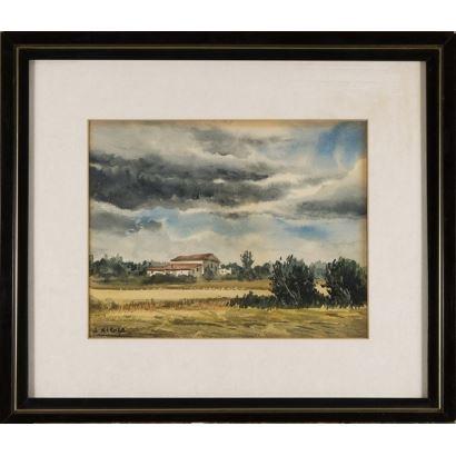 ¨Paisaje rural¨. J. Xicola. Se trata de una acuarela sobre papel, que aparece firmada por el propio autor en el ángulo inferior izquierdo. Está enmarcado. 25 x 32 cm. Medidas con marco, 44 x 51 cm.
