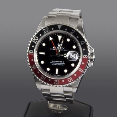 Reloj de pulsera para caballero ROLEX GMT-MASTER II, con pulsera y caja en acero, dial con fecha. Perfecto estado.