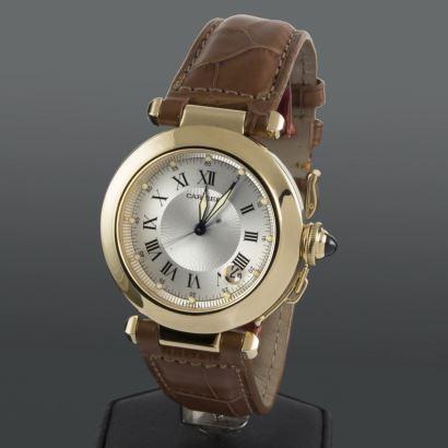 Reloj de pulsera para caballero/unisex PASHA DE CARTIER, automático, con caja de oro amarillo y pulsera de cuero.