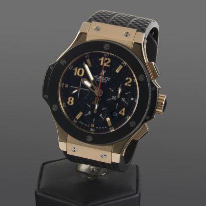 Reloj de pulsera para caballero/unisex HUBLOT BIG BANG ROSE, automático, con caja de oro rosa y pulsera de caucho. Diámetro: 44x14mm (alto). Perfecto estado.