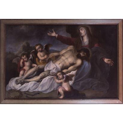 Óleo sobre lienzo. S.XVII. Observamos a la piedad sosteniendo a su hijo, acompañada por ángeles y los símbolos de la pasión. 178x122cm / 156x100cm