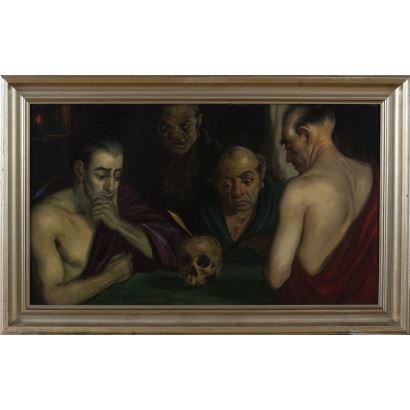 SABATER Y SALABERT, Daniel (Valencia, 1888-Barcelona, 1951). Óleo sobre lienzo. 1921.