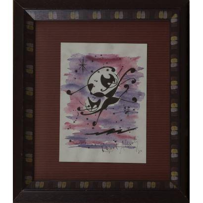 """""""Gato"""", Rafael Alberti. Se trata de una acuarela y tinta sobre el papel, que aparece fechada y firmada a mano por el propio autor en el ángulo inferior derecho. Está enmarcada. Medidas sin marco: 23 x 17 cm."""