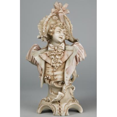 Busto masculino en porcelana, 21x11x6 cm