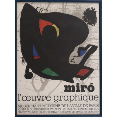 """""""L´Ouvre Graphique"""", Joan Miró. Se trata de un cartel litográfico, que presenta una exposición de obras gráficas. Está enmarcado e impreso por Arte París. Medidas con marco: 75,5 x 56,5 cm."""
