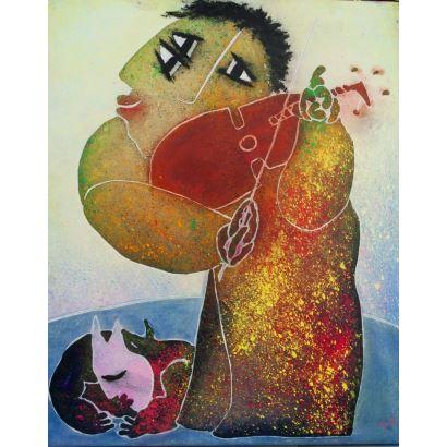 GARCÍA RIPOLLÉS, Juan (Alzira, Valencia, 1932). Técnica mixta sobre lienzo.