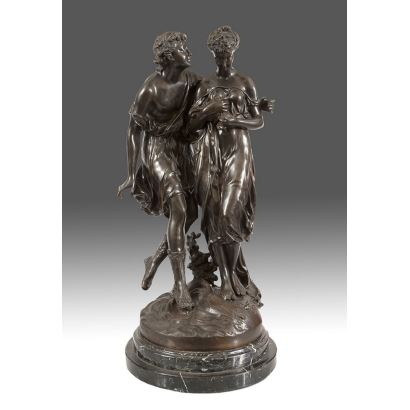 Figura en bronce sobre peana de mármol. s.XX.