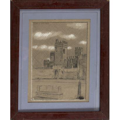 MARIN HIGUERO, Enrique (Arriate, Málaga, 1876-Madrid, 1975). Dibujo a lápiz y clarión sobre papel.