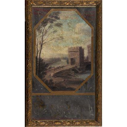 Curioso espejo antiguo enmarcado, la parte central alberga una impresión que representa un paisaje con torre y puente sobre el que caminan algunos personajes, a modo de espejo Trumeau. Marco: 55x34cm Paisaje: 37x26cm.