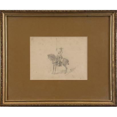 MELIDA, Enrique (1924). Dibujo a lápiz sobre papel.