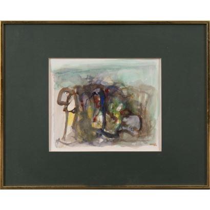 A.GÓMEZ (Santiago de Chile, 1964). Técnica mixta. Composición abstracta. Firmado y fechado en ángulo inferior derecho: A GOMEZ 2004. 51x41cm/27x23cm