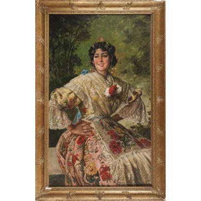 SANCHEZ SOLÁ, Eduardo.  (Madrid, 1869- Granada, 1949). Óleo sobre lienzo.