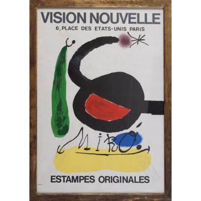 """""""Vision Nouvelle"""", Joan Miró. Se trata de un cartel litográfico, que presenta una exposición.  Está enmarcado e impreso por Arte París. Medidas con marco: 80 x 57 cm."""