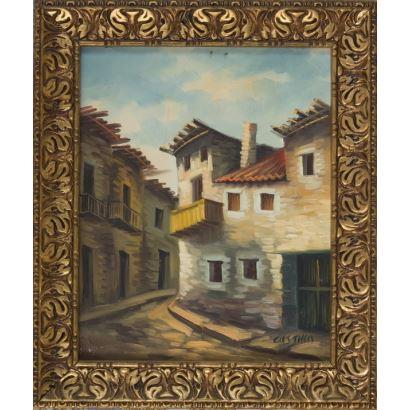 """""""Pueblo antiguo"""", Castillo. Se trata de un óleo sobre lienzo que aparece firmado por el propio autor en el ángulo inferior derecho. Está enmarcado. Medidas con marco: 62,5 x 53 cm. Medidas sin marco: 50,5 x 40 cm."""