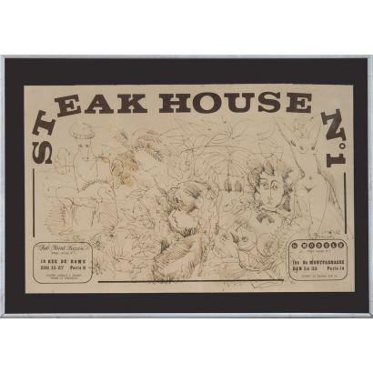 Dibujo a tinta sobre mantel de restaurante parisino, en él contemplamos numerosos personajes y formas vegetales. Firmado y fechado en ángulo inferior derecho: Grau Sala, 10-4-72. Medidas: 50x36cm.