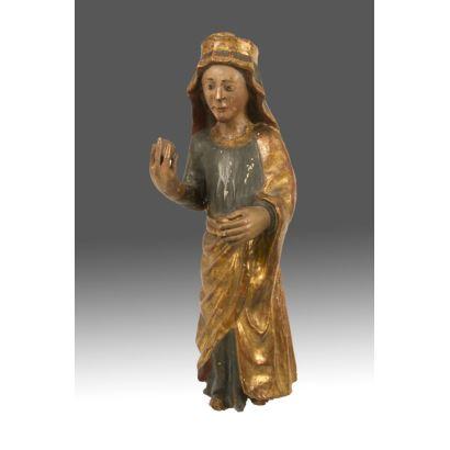 Destacada talla en madera policromada y dorada. Castilla o Aragón s.XIV-XV.