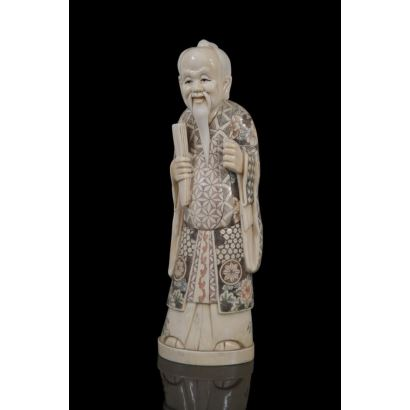 Figura costumbrista china tallada en marfil y policromada. pp.s.XX.