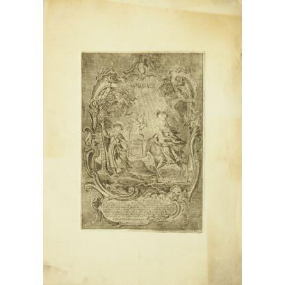 Grabado en blanco y negro. 1762.