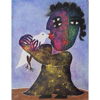JUAN GARCÍA RIPOLLÉS (Alzira, Valencia, 1932). Figura con paloma. Técnica mixta sobre lienzo. Con certificado del artista. Medidas: 116 x 89 cm.