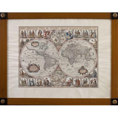 Litografía a color enmarcada. Reproducción realizada en los años 50 del ORBIS TERRARUM TYPUS DE INTEGRO MULTIS IN LOCIS EMENDATUS del cartógrafo Nicolaus Ioannis Vischerius hacia 1652. Medidas: 66x82cm.