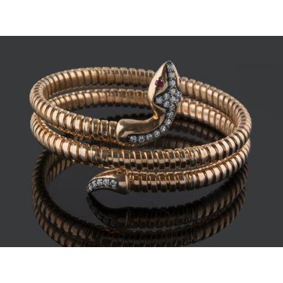 Pulsera con forma de serpiente enroscada, realizada en plata chapada en oro amarillo (flexible).