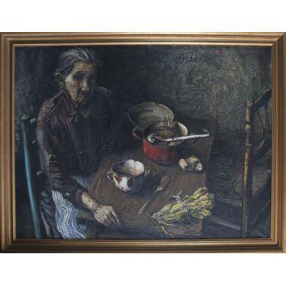 RIBERA BERENGUER, Juan (Valencia, 1935). Óleo sobre lienzo. 1969.