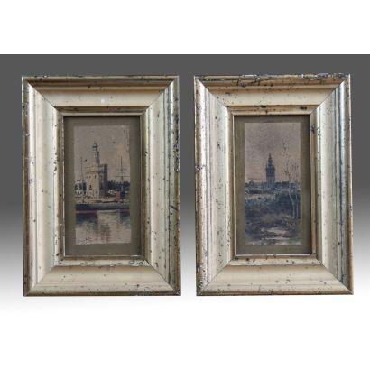 CANDELA, Francisco. Siglo XIX. Pareja de acuarelas. Miniaturas.