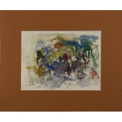 A.GÓMEZ (Santiago de Chile, 1964). Técnica mixta. Composición abstracta. Firmado y fechado en ángulo inferior derecho: A GOMEZ 2004. 57x48cm.