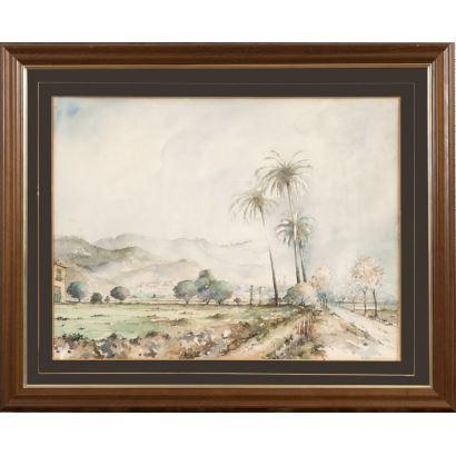 SOLDEVILA  VALLS, Miquel (San Andrés de Palomar, 1886-Barcelona, 1956). Acuarela sobre papel.