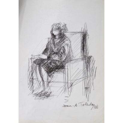 TOLEDO, Juan Antonio (Valencia, 1940-1995). Dibujo a tinta sobre papel. 1986.