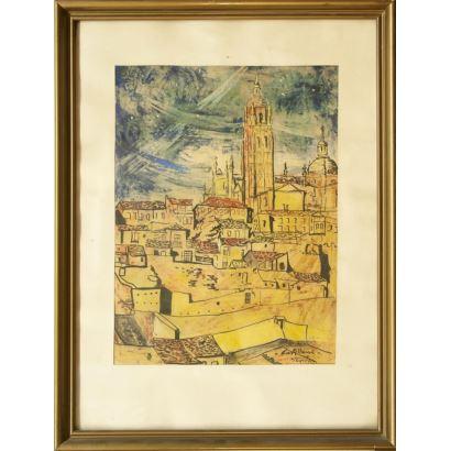 CASTELLANO GINER, Vicente (Valencia, 1927). Técnica mixta sobre papel.