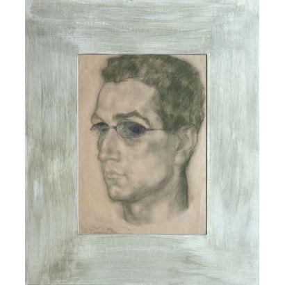 VÁZQUEZ DÍAZ, Daniel  (Nerva, Huelva, 1882-Madrid, 1969). Dibujo a carboncillo y lápiz sobre papel.