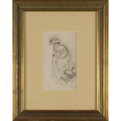 CECILIO PLÁ ¨Melancolía¨. Cecilio Plá. Se trata de un dibujo a carboncillo, que aparece firmado por el propio autor en el ángulo inferior derecho. Está enmarcado. 23 x 13 cm.