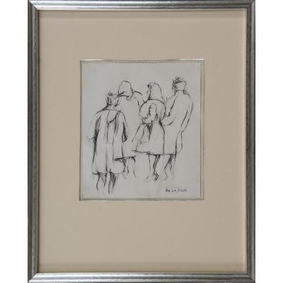 """""""Mujeres posando"""", Ismael González de la Serna. Se trata de un dibujo a tinta, que aparece firmado con estampilla por el propio autor en el ángulo inferior derecho. Está enmarcado. Medidas con marco: 43 x 34 cm. Medidas sin marco: 20 x 18 cm."""