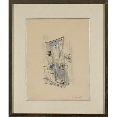 ¨Mujer en el balcón¨. Eduardo Vicente. Se trata de un dibujo a tinta y aguada, que aparece firmado por el propio autor en el ángulo inferior derecho. Está enmarcado. 31 x 24 cm. Medidas con marco, 45,5 x 38,5 cm.