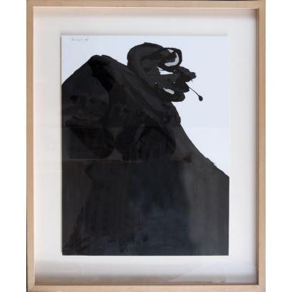 BASSET, Josep (Benifairó de la Valldigna, Valencia, 1948). Dibujo a tinta sobre cartón. 1998.
