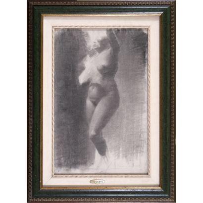 Dibujo a carboncillo sobre papel. 1889.