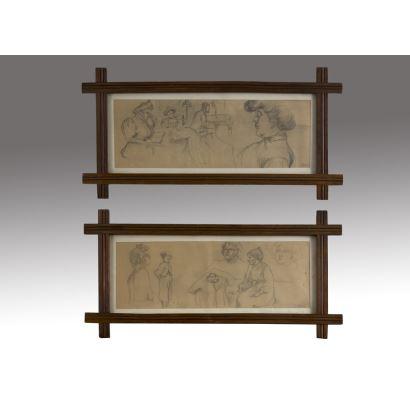Pareja de dibujos realizados a lápiz sobre papel, en ambos contemplamos estudios de personajes masculinos y femeninos en diversas poses. Firmados en ángulo inferior derecho. 72x37cm s/m 53x18cm.