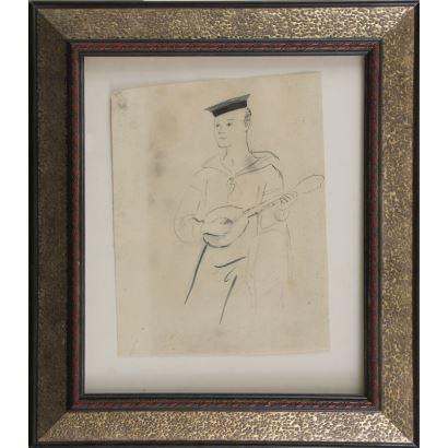 PRUNA, Pedro (Barcelona, 1904-1977). Dibujo a lápiz sobre papel.