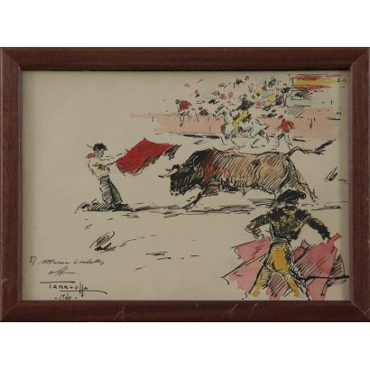 """Joaquim Terruella Matilla (Barcelona, 1891- 1957). """"lance taurino"""". Se trata de una tinta china y acuarela sobre papel, que aparece fechado, dedicado y firmado por el propio autor en el ángulo inferior izquierdo. Está enmarcado.  19x26 cm s/m  17x24 cm."""