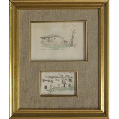 Bella pareja de acuarelas enmarcadas que representan dos bellas construcciones rurales con vegetación, ambas están firmadas: Iglesias. 31x26cm (Marco), 10x14cm y 6x9cm (Acuarelas).