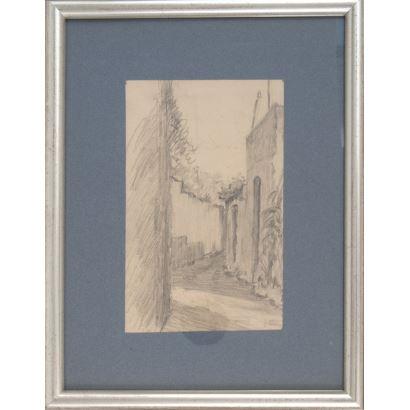 MIR Y TRINXET, Joaquín (Barcelona, 1873-1940). Dibujo a lápiz sobre papel.