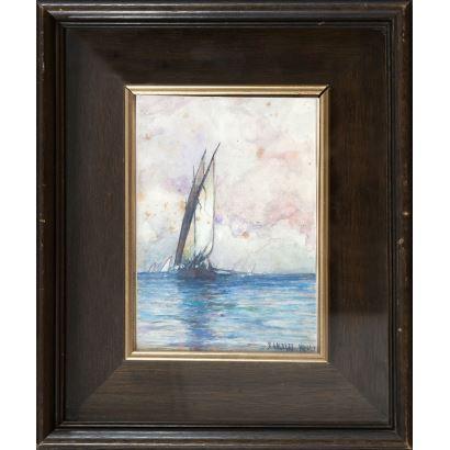 BALDOMERO GALOFRE Y GIMÉNEZ (1849-1902). Sin Título. Acuarela sobre papel. Firmado B. Galofre. Napoli. Medidas sin marco: 21,5 x 15 cm.