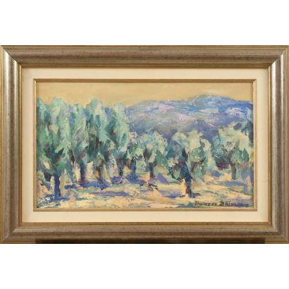 """""""Paisaje 1"""", Dolores Balsalobre. Se trata de un óleo sobre lienzo, que aparece firmado por el propio autor en el ángulo inferior derecho. Está enmarcado. Medidas sin marco. 27 x 46 cm. Medidas con marco: 41 x 60 cm."""