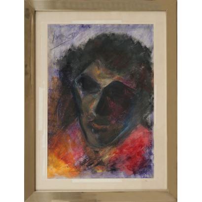 PABLO MÁRQUEZ (1957). Sin título. Ceras sobre papel. Medidas: 49 x 36 cm.