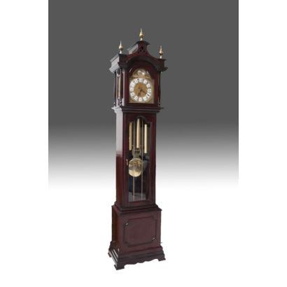 Reloj de antesala, carillón con sonería. Esfera con decoración de ave y orbe con frase